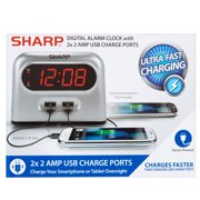 Sharp Digital Alarm Clock with 2x 2 Amp USB Charge Ports