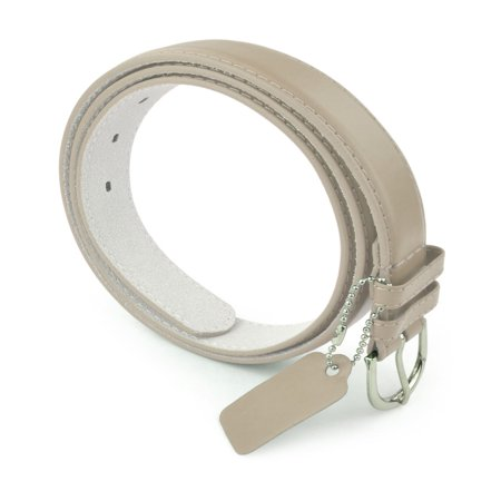 Womens Leather Belt - Solid Color Basic Pu Bonded Leather Dress Belt - Silver Polished Belt Buckle by Belle Donne - Beige Medium