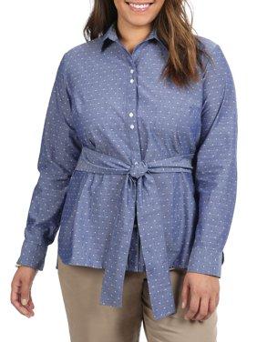 Women's Plus Long Sleeve Tie Waist Shirt