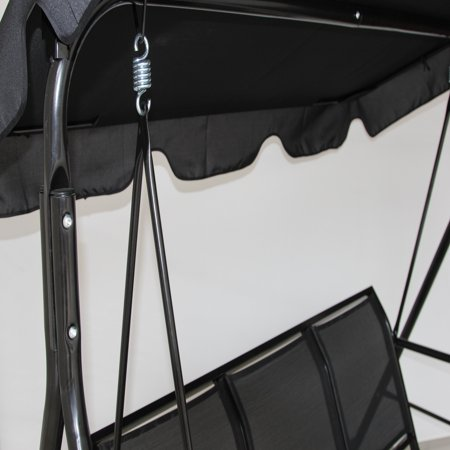 Gymax Black Outdoor Swing Canopy Patio Swing Chair 3 Person Canopy Hammock - image 3 of 7