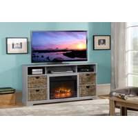 Flamelux 59.5 In. Anniston Media Fireplace and TV Stand in Grey Painted Finish