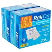 ReliOn Skin Cleanser Sterile Alcohol Swabs Twin Pack, 400 count, 2 pack