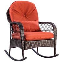 Gymax Patio Rattan Wicker Rocking Chair Porch Deck Rocker Outdoor Furniture W/ Cushion