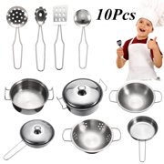 10pcs Stainless Steel Kids Pretend Play Food Cooking Kitchen Cookware Learning Set Early Education For Kids Chidren Birthday New Year Gifts