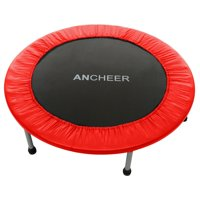Lowest Price ever ! Max Load 220lbs Rebounder Mini Trampoline with Safety Pad for Indoor Garden Workout Cardio Training (2 Sizes: 38 inch / 40 inch, Two Modes: Folding / Not Folding)