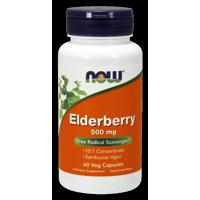 NOW Elderberry 500 mg Vegetarian Capsules, 60 Ct