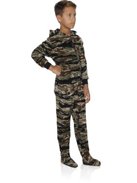 FUN FOOTIES Camo Boys Footed Pajama Sleeper Onesie, Camo Forest Hooded, Size: 14/16