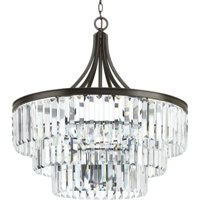 "Progress Lighting P5346 Glimmer 6 Light 28"" Wide Chandelier with Prism Drop Shad"