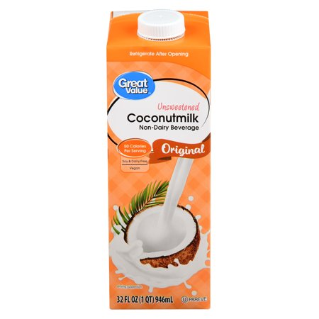 (6 Pack) Great Value Original Coconut Milk Unsweetened, 32 fl -