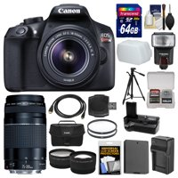 Canon EOS Rebel T6 Wi-Fi Digital SLR Camera & 18-55mm IS II + 75-300mm III Lens + 64GB Card + Case + Flash + Battery & Charger + Grip + Tripod Kit
