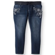 Embroidered Bling Rib Waist Knit Denim Jegging (Little Girls & Big Girls)