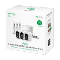 Arlo HD 720p Bundle VMS3330W - 3-Camera Wireless Security Camera System with 3 Additional Wall Mounts and 3 Outdoor Mounts - Plus 3 FREE Months of Cloud Service, Indoor/Outdoor, Wire-Free