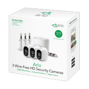 Arlo 720P HD Security Camera System VMS3330W - 3 Wire-Free Cameras with 3 Additional Wall Mounts and 3 Outdoor Mounts, Indoor/Outdoor, Night Vision, Motion Detection
