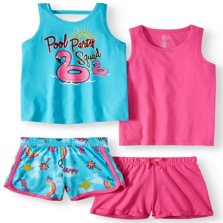 Graphic and Solid Summer Tank Tops and Shorts, 4-Piece Mix & Match Outfit Set (Little Girls & Big - Mib Outfit