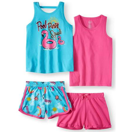 Graphic and Solid Summer Tank Tops and Shorts, 4-Piece Mix & Match Outfit Set (Little Girls & Big - Match Every Outfit
