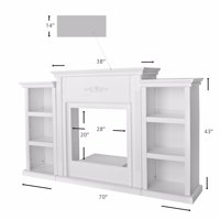 "70"" TV Stand Firplace Stand Media Console Bookcase, Ivory"