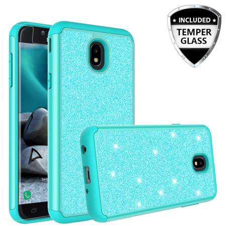 For Tracfone Samsung Galaxy J7 Crown (S767VL) Case Case w/[Tempered Glass Screen Protector] Glitter Sparkle Shiny Bling Shock Proof Dual Layer Case Cover - Mint