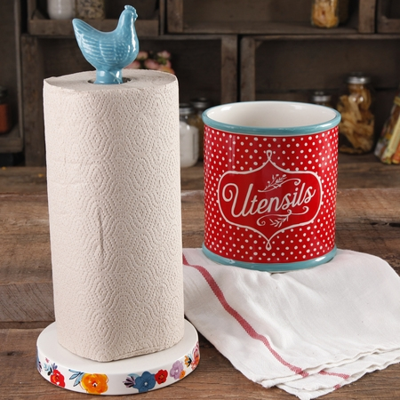 The Pioneer Woman Flea Market Turquoise Paper Towel Holder And (Country Paper Holders)
