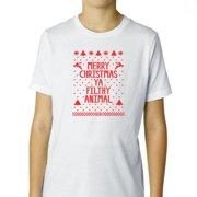 Hilarious Merry Christmas Ya Filthy Animal Boy's Cotton Youth T-Shirt