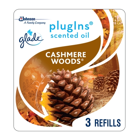 - Glade PlugIns Scented Oil Refill Cashmere Woods, Essential Oil Infused Wall Plug In, Up to 150 Days of Continuous Fragrance, 2.01 FL OZ, Pack of 3