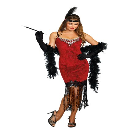Dreamgirl Women's 1920's Ruby Red Beaded Velvet Flapper Costume Dress - Red Flapper