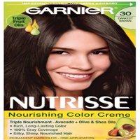 Garnier Nutrisse Nourishing Hair Color Creme, 30 Darkest Brown 1 ea