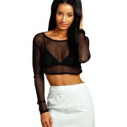 2afa3d51f25 Womens Mesh Sheer Crop Top Long Sleeve See Through Fishnet Fit Tee Shirts  Blouse Sexy Party