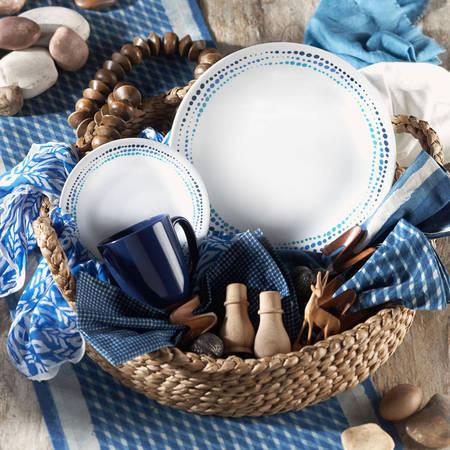 Corelle Livingware Ocean Blues 16-Piece Dinnerware Set (Corelle Vintage Blue)