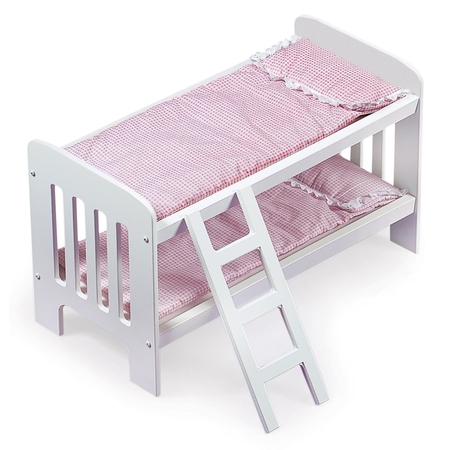 "Gingham Doll Bunk Bed with Bedding and Ladder - White/Pink - Fits American Girl, My Life As & Most 18"" Dolls"