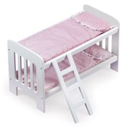 """Badger Basket Gingham Doll Bunk Bed with Bedding and Ladder - White/Pink - Fits American Girl, My Life As & Most 18"""" Dolls"""