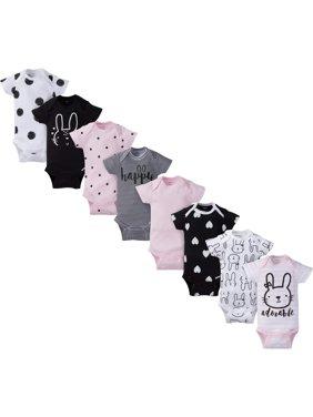 Assorted Short Sleeve Onesies Bodysuits, 8pk (Baby Girl)