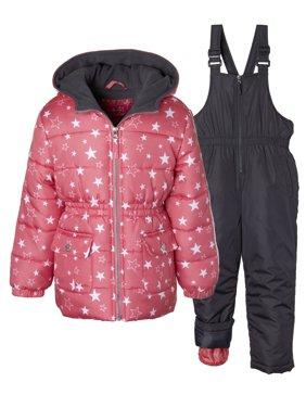 Metallic Star Print Puffer Jacket Coat & Snowbib, 2-Piece Snowsuit