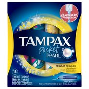 Tampax Pocket Pearl Regular Plastic Tampons, Unscented, 18 Ct