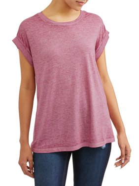 Juniors' Knit Roll Sleeve Tee Top