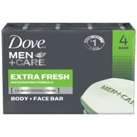 Dove Men+Care Body and Face Bar Extra Fresh 4 oz, 4 Bar