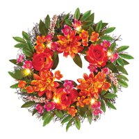 Coral Pink Mixed Floral Door Wreath Summer Porch Decoration with LED Lights