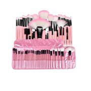 Zodaca 32 pcs Makeup Brushes Superior Kit Set Powder Foundation Eye shadow Eyeliner Lip with Pink Cosmetic Pouch Bag (32 Count)