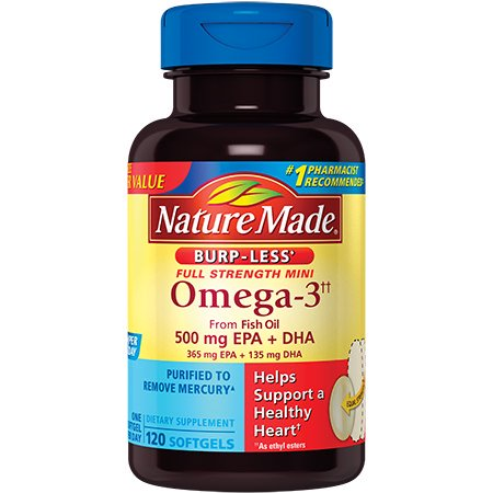Nature Made Omega-3 from Fish Oil Mini Softgels, Burp-Less, 500 Mg, 120
