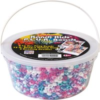 The Beadery Kandy Kids P.L.U.R Bead bucket, 1.5 lbs. of unicorn color beads, 75 ft. stretch cord & 2 beading needles