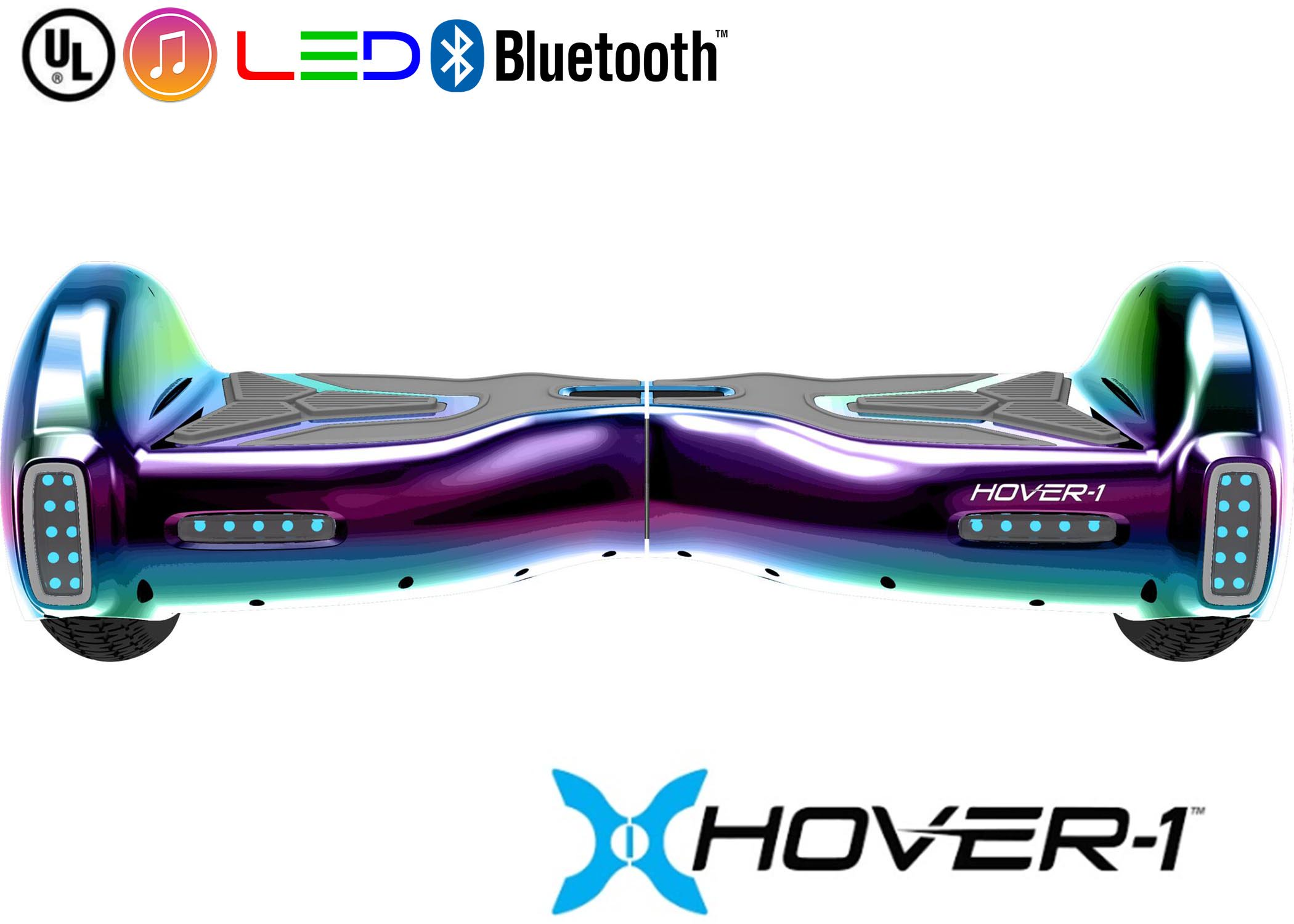 Hover-1 H1 UL Certified Electric Hoverboard w/ 6.5 Wheels, LED Lights, Bluetooth Speaker, and App Enabled - Iridescent
