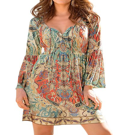 ZXZY Boho Style Women Dress Long Sleeve Beach Summer Dresses Floral Print Vintage Maxi - Swarowski Dresses
