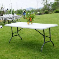 Zimtown 6' Folding Table, Portable Multipurpose Rectangle Plastic Tables, for Indoor Outdoor Picnic Party Dining Camping Meeting, White
