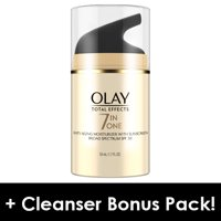 Olay Total Effects 7-in-1 Anti-Aging Daily Face Moisturizer With SPF 30, 1.7 fl oz + Daily Facial Dry Cleansing Cloths, 7 ct