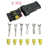 5 kits car 3 pin way sealed waterproof electrical wire auto connector plug  set