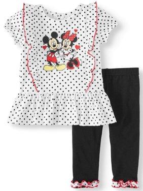 Short Sleeve Ruffle Tunic Top & Leggings, 2pc Outfit Set (Baby Girls)