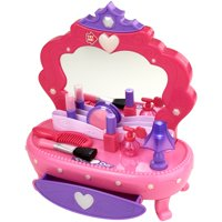 Kid connection 13-piece light up vanity set with working storage drawer