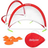 GoSports 6' Foldable Pop-Up Soccer Goal, Set of 2, with 6 Cones and Portable Carry Case