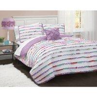 Better Homes and Gardens Kids Ruffled Stripes Bedding Quilt Set