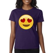 4bd36dbdcd0 New Way 302 - Women s T-Shirt Emoji Heart Eyes Smiley Face