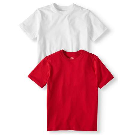 Wonder Nation Short Sleeve Crew Neck Tee Shirt Value, 2-Pack Set (Little Boys, Big Boys, & Husky) 3 Baby Doll T-shirt